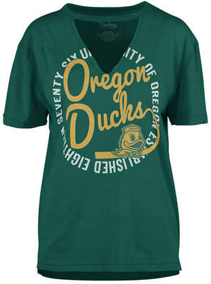 Royce Apparel Inc Women's Oregon Ducks Cutout V-Neck T-Shirt