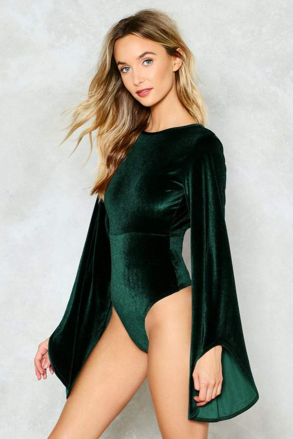 nastygal Bell Me About It Velvet Bodysuit