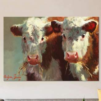 East Urban Home 'Cow Belles' Painting Print on Canvas