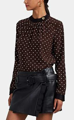 Prada Women's Polka Dot Silk Blouse - Brown