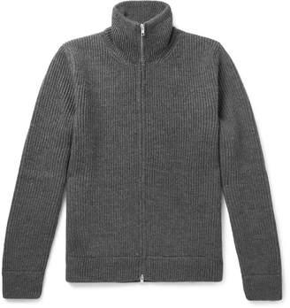 Maison Margiela Ribbed Mélange Wool Zip-Up Sweater