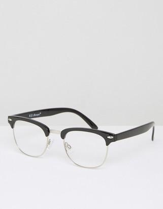 AJ Morgan Half Frame Clear Lens Glasses in Black $24 thestylecure.com