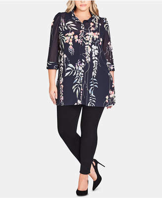 City Chic Trendy Plus Size Floral Tunic