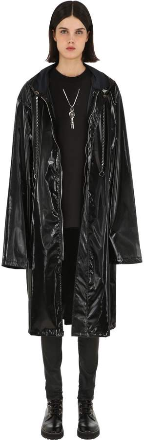 Master Number Oversized Hooded Faux Patent Coat