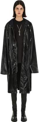 Oversized Hooded Faux Patent Coat