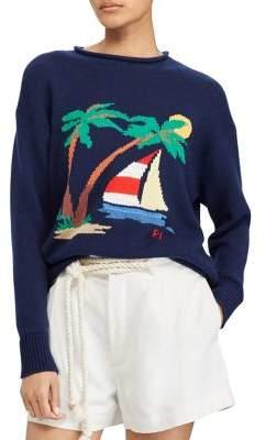 Polo Ralph Lauren Boat-Print Cotton Crewneck Sweater