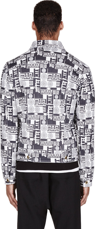 Versus Black & White Signature Print M.I.A. Edition Denim Jacket