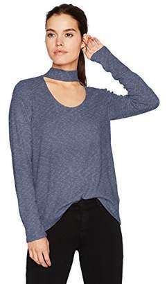 Calvin Klein Jeans Women's Long Sleeve Rib Choker Neck Top