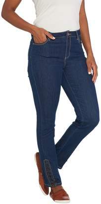 Susan Graver Stretch Denim Slim-Leg Pants w/ Faux Leather Lacing