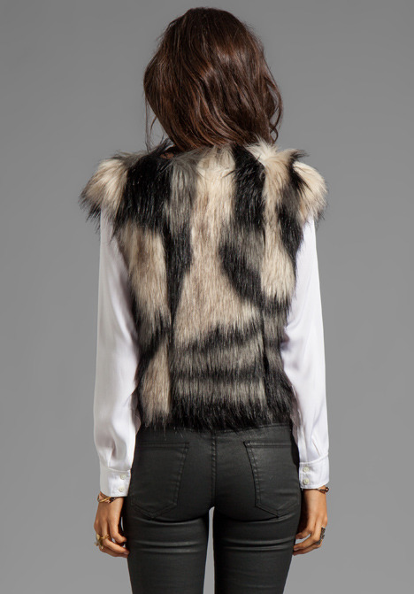 Twelfth St. By Cynthia Vincent By Cynthia Vincent Breaux Leather Collar Fur Vest