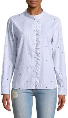 Velvet Heart Aliyah Heart Embroidery Ruffle-Front Button-Down Shirt