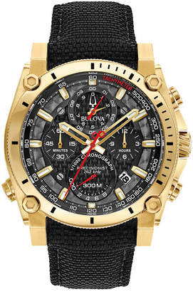 Bulova Men's Chronograph Precisionist Black Cordura Nylon Strap Watch 46.5mm