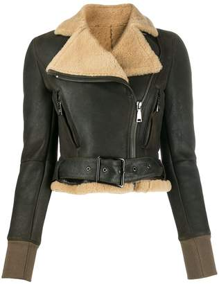 Gianfranco Ferre Pre-Owned 2000s cropped belted leather jacket