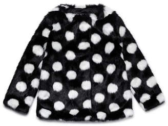 Kate Spade Polka-Dot Faux-Fur Coat, Size 12-24 Months