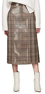 Fendi Women's Coated Plaid Wool Tweed Skirt-Brown