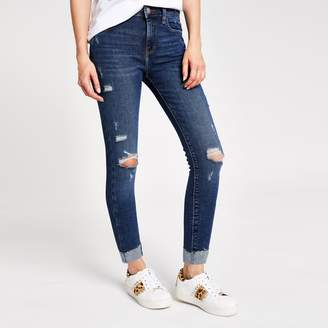 River Island Womens Dark Blue Amelie super skinny rip jeans