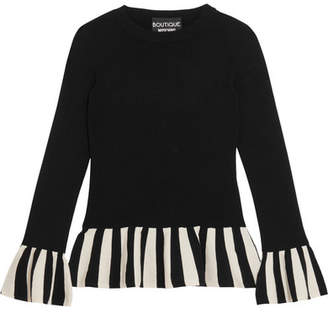 Boutique Moschino - Striped Knitted Sweater - Black $595 thestylecure.com