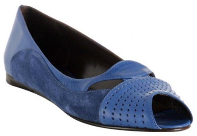 Balenciaga electric blue leather peep toe flats