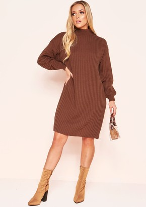 19bc2dee18 Missy Empire Missyempire Gayla Brown Knit High Neck Jumper Dress