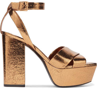Saint Laurent - Farrah Metallic Cracked-leather Platform Sandals - Bronze