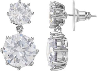 Jennifer Lopez Red Carpet Ready Cubic Zirconia Double Drop Earrings $38 thestylecure.com