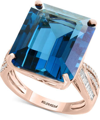 Effy Ocean Bleu by London Blue Topaz (14-9/10 ct. t.w.) & Diamond (1/4 ct. tw.) Ring in 14k Rose Gold