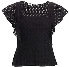 Akris Punto Women's Dotted Crochet Flutter-Sleeve Top