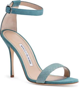 Manolo Blahnik Chaosbic 105 Dusty Green Suede Snakeskin Sandals