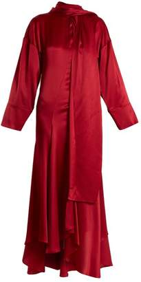 Roksanda Alida Tie Neck Crinkle Silk Satin Dress - Womens - Red