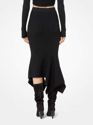 Michael Kors Merino Ribbed Handkerchief Skirt