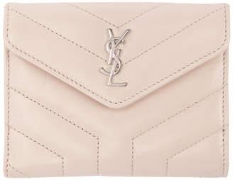 Saint Laurent Pink Quilted Compact Monogram Wallet