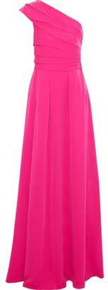 Mikael Aghal One-Shoulder Pleated Crepe De Chine Gown