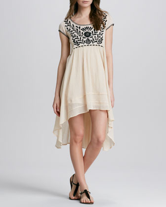 Free People Marina Embroidered High-Low Dress