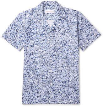 Orlebar Brown Travis Slim-fit Camp-collar Printed Cotton And Linen-blend Shirt - Blue