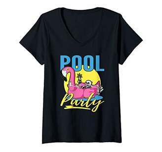 Pool' Womens Pool Party Flamingo Skull V-Neck T-Shirt