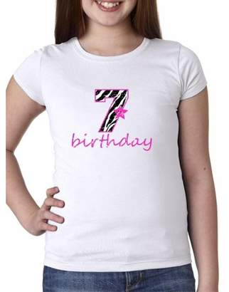 Hollywood Thread Pink Zebra - 7th Birthday Star - Cute Gift Girl's Cotton Youth T-Shirt