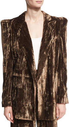Co Long Metallic Crinkle-Velvet Blazer, Brown