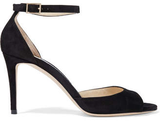 Jimmy Choo Annie 85 Suede Sandals - Black