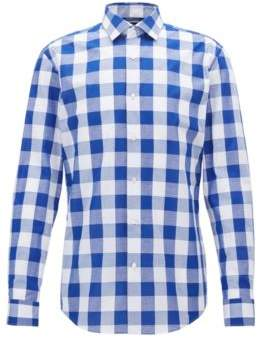 BOSS Hugo Checked Cotton Linen Dress Shirt, Slim Fit Ismo 17.5 Blue