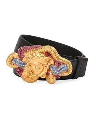Versace Leather Multicolor Medusa-Buckle Belt