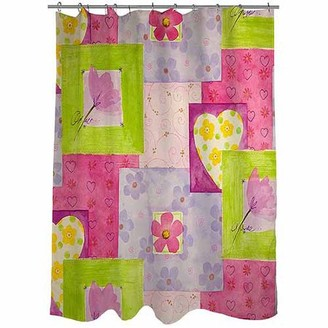 "Thumbprintz Hearts and Flowers Shower Curtain, 71"" x 74"""