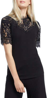 Nic+Zoe Victorian Lace Short-Sleeve Top
