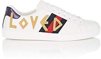 Gucci Men's Ace Embroidered Leather Sneakers - White