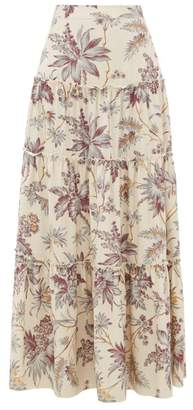 Sir - Avery Floral Print Tiered Silk Maxi Skirt - Womens - Multi