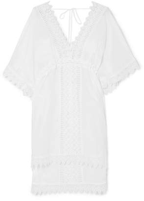 Charo Ruiz Alaya Crocheted Lace-paneled Cotton-blend Kaftan
