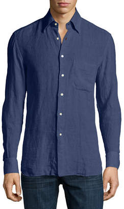 Stefano Ricci Solid Linen Long-Sleeve Shirt