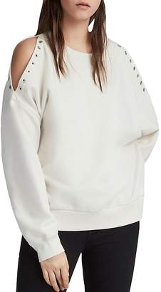 AllSaints Cruz Unai Grommet Cold-Shoulder Sweatshirt