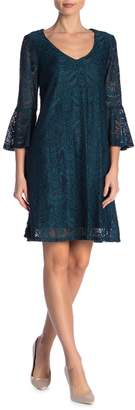 Connected Apparel V-Neck Lace Bell Sleeve Dress