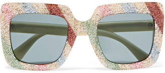 Gucci Square-frame Glittered Acetate Sunglasses - White