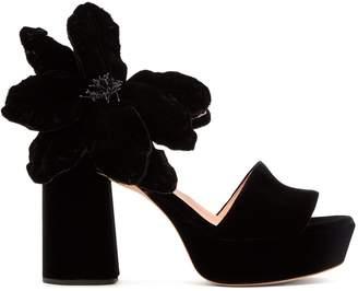 Rochas Abigail flower-appliqué platform velvet sandals